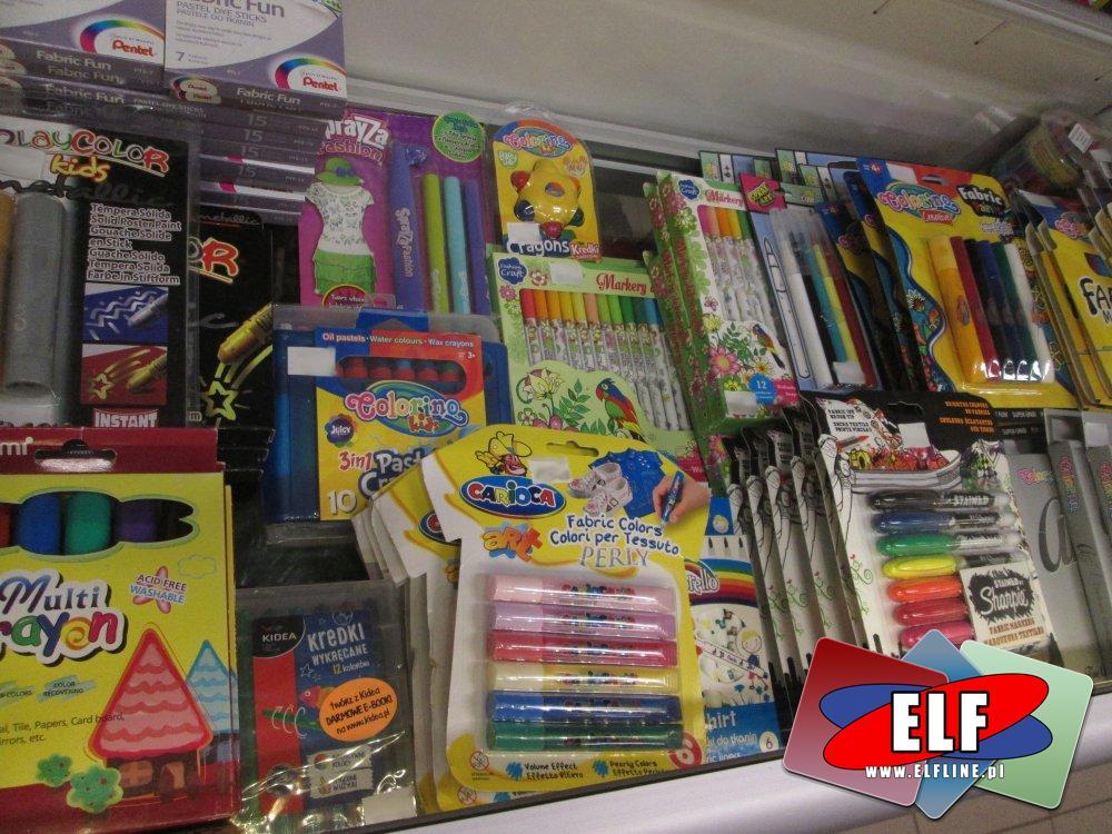 Akcesoria szkolne, mazaki, kredki, flamastry i inne