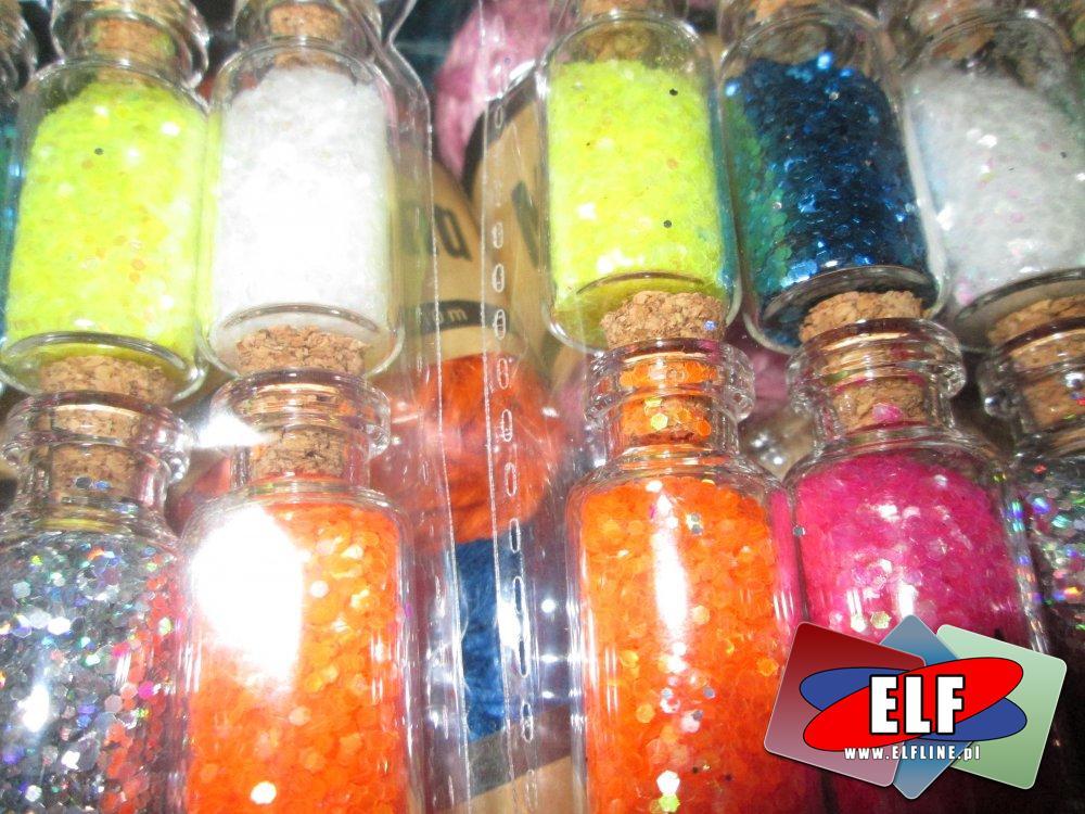 Brokat w buteleczkach, brokat kolorowy, ozdobny, ozdoba, ozdoby