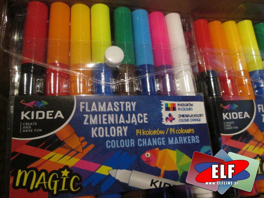 Kidea, Flamastry zmieniające kolory, Magic, Magiczne, Flamaster do zabawy i nauki plastyki w szkole i domu
