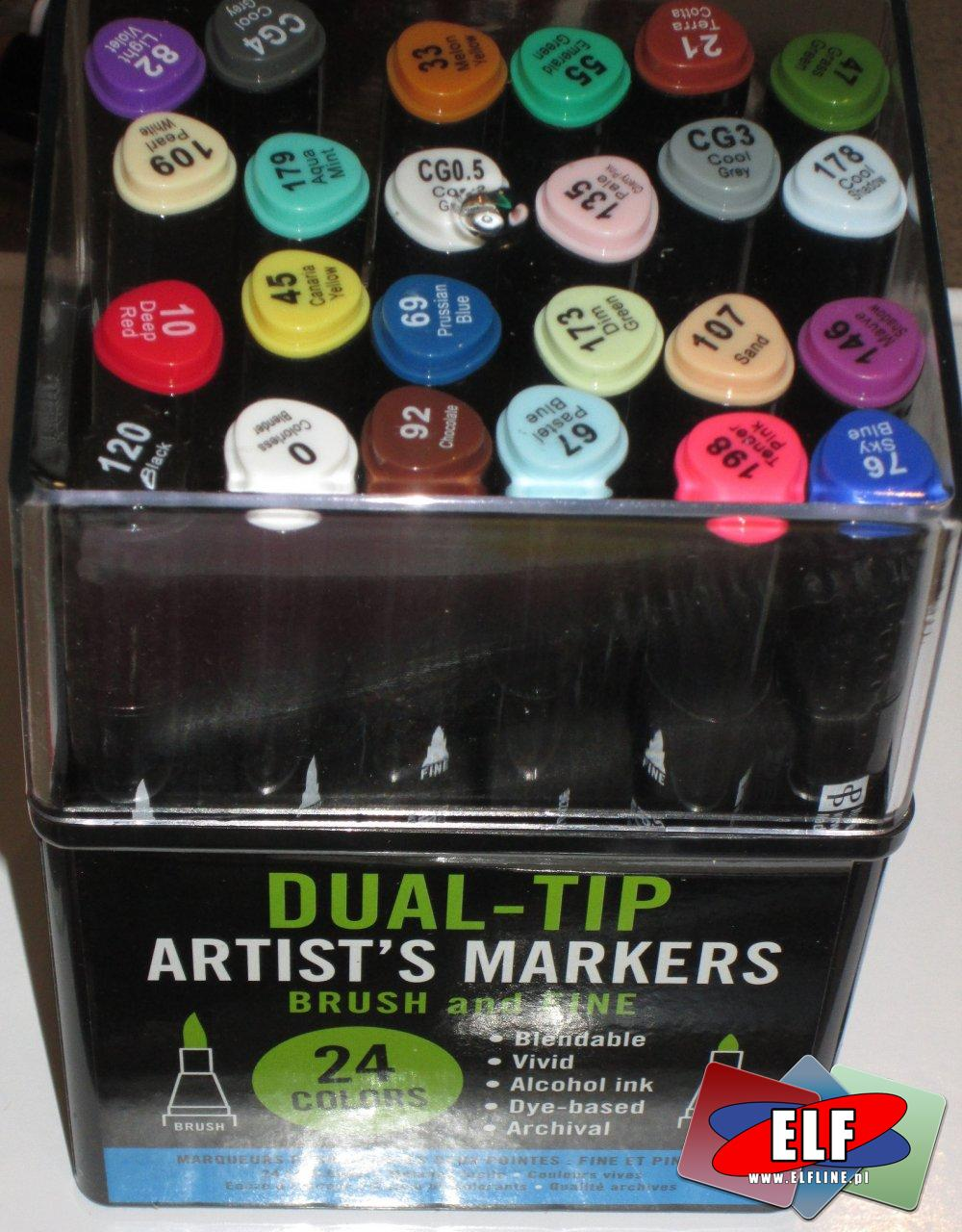 Brush and Tine, Marker, Flamaster artystyczny, Flamastry 24 kolory, Dual-Tip Artists Markers