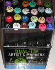 Brush and Tine, Marker, Flamaster artystyczny, Flamastry 24 kolory, Dual-Tip Artists Markers Brush and Tine, Marker, Flamaster artystyczny, Flamastry 24 kolory, Dual-Tip Artists Markers