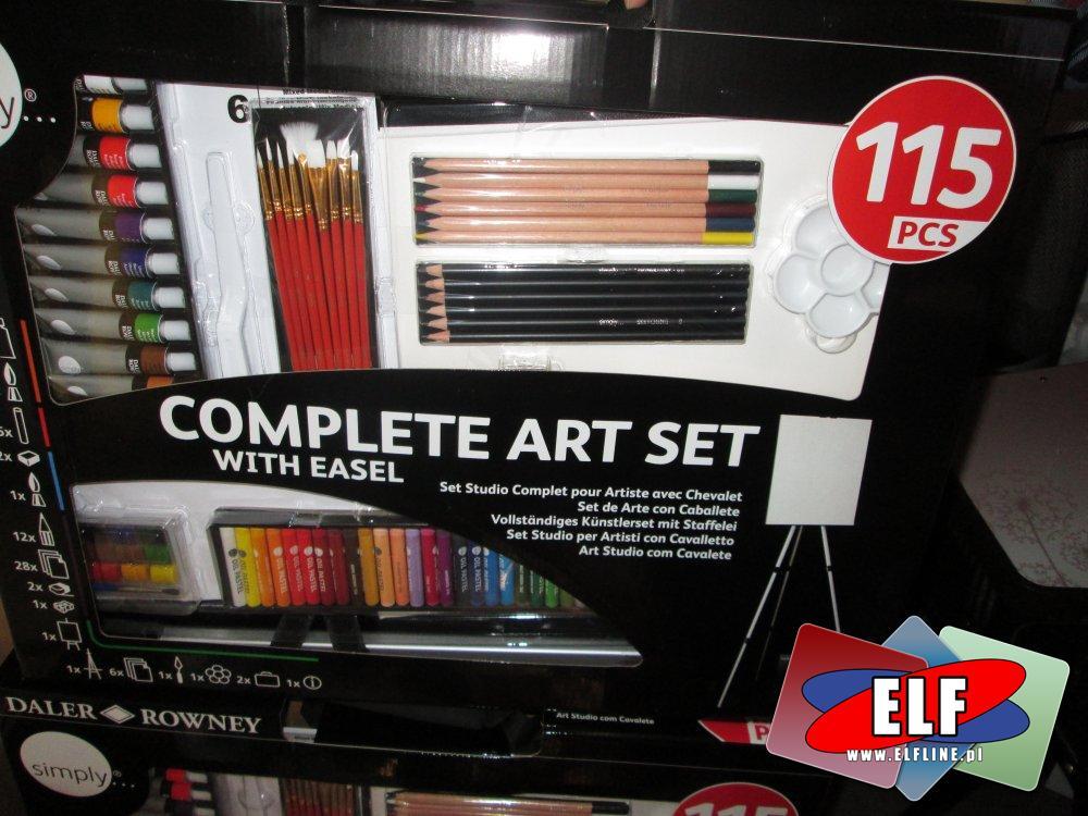 Complete Art Set With Easel, Kompletny zestaw artystyczny ze sztalugą