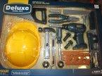 Deluxe Tool set, narzędzia, zestaw z narzędziami, kask, kaski, zabawka, zabawki, wiertarka, młotek, różne narzędzia