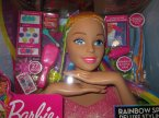 Barbie, Tęczowa głowa do stylizacji, czesania, dla małej stylistki modnych fryzur Barbie, Tęczowa głowa do stylizacji, czesania, dla małej stylistki modnych fryzur